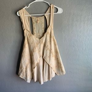 Free People Lace swing cream blouse sz. Medium